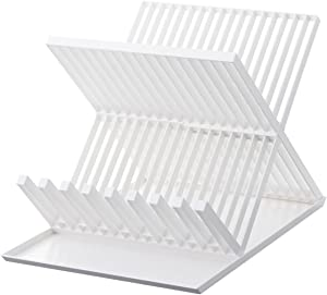 YAMAZAKI home 2607 Tower Dish Drainer-Drying Rack for Kitchen Counters, White