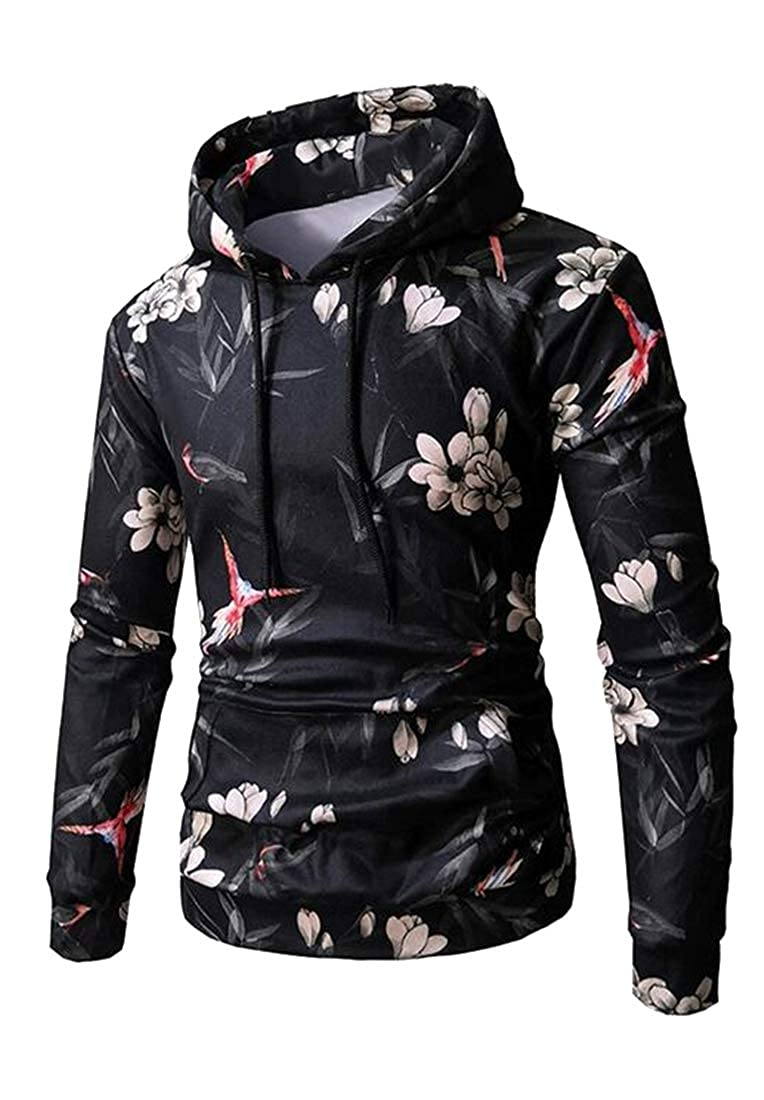 BOBOYU Mens Pockets Loose Print Long Sleeve Athletic Fashion Pullover Hooded Sweatshirt