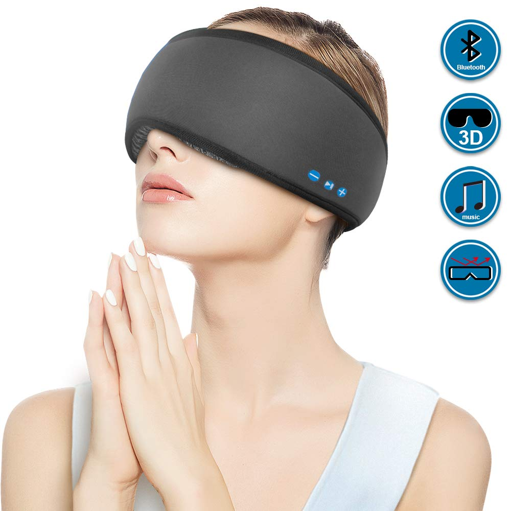 Rotibox Wireless Bluetooth Sleep Eye Mask Sleepphone Sleeping Headpone with Speakers Mic for Men Women, 100% Block Out Light, Soft Comfort 3D Eye Shade Cover for Yoga Travel Insomnia Gifts-Black by Rotibox