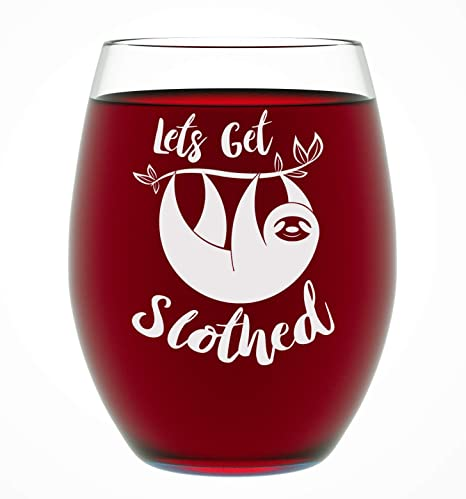 Christmas Gift Ideas For Him Amazon.Sloth Gifts Let S Get Slothed Funny Unique Novelty Stemless Wine Glass Birthday Or Christmas Gifts For Her Or Him Best Friend Or Co Worker 15