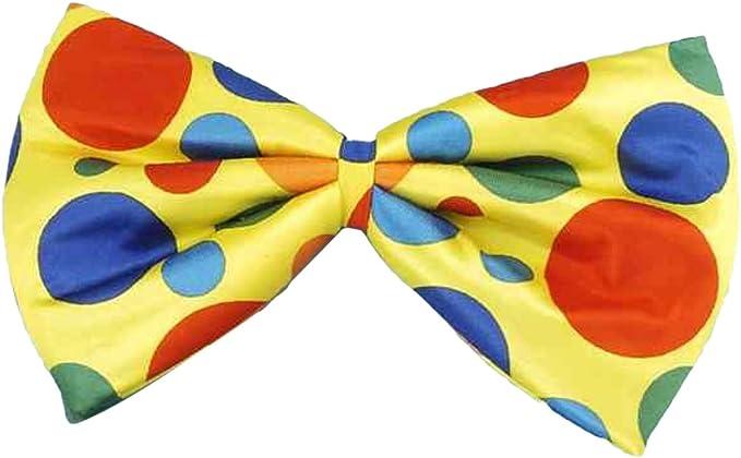 Large Jumbo Clown Bow Tie Fancy Dress Halloween Circus Costume Rainbow Chequer
