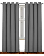 Blackout Thermal Insulated Room Darkening Grommet Curtains Window Panel Drapes - Set of 2-8 Grommets/Rings per Panel- 2 Tie Back Included- by Utopia Bedding (2 Panel) - by Utopia Bedding