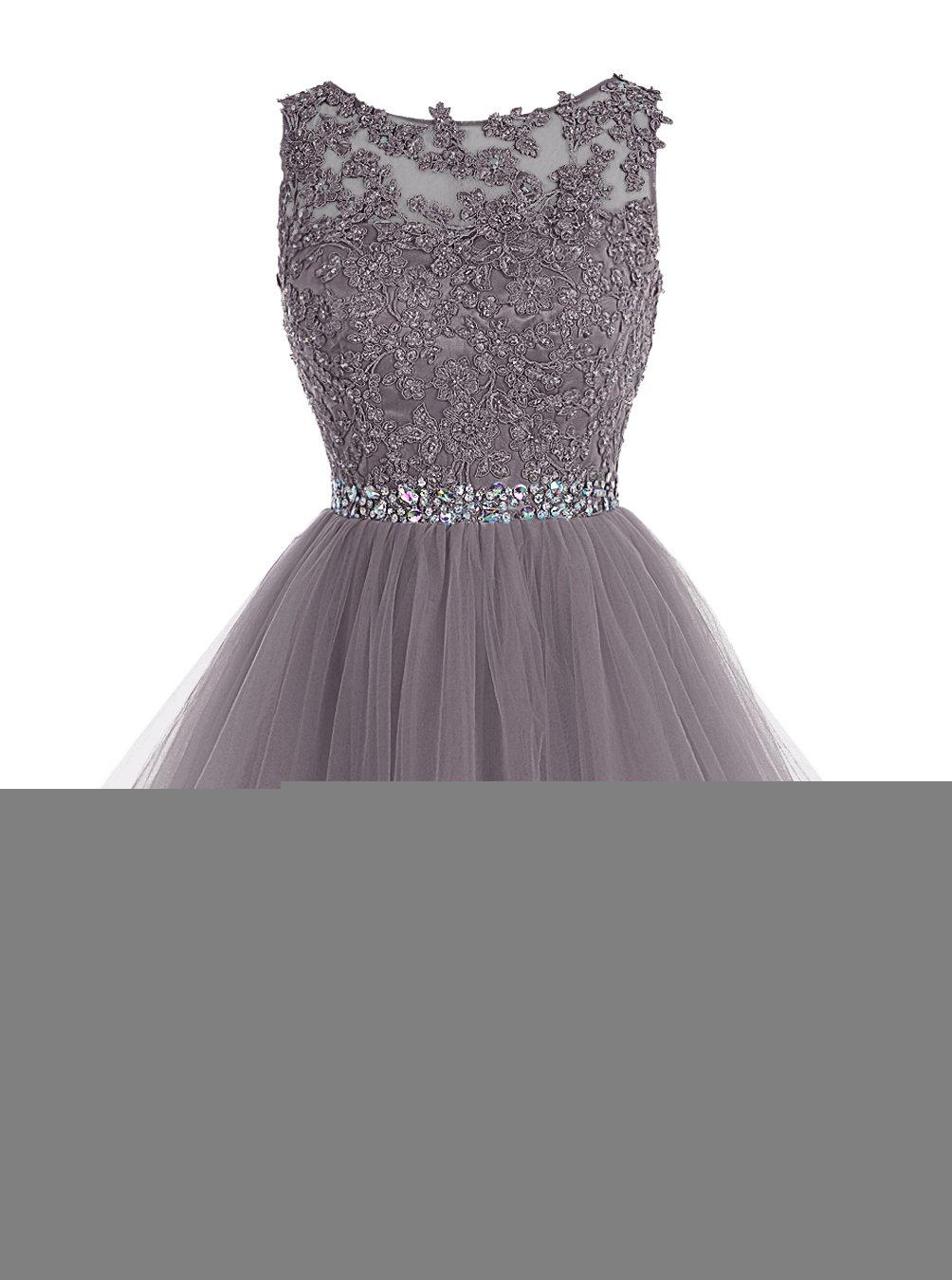 ALAGIRLS Short Beaded Prom Dress Tulle Applique Homecoming Dress Grey US20Plus
