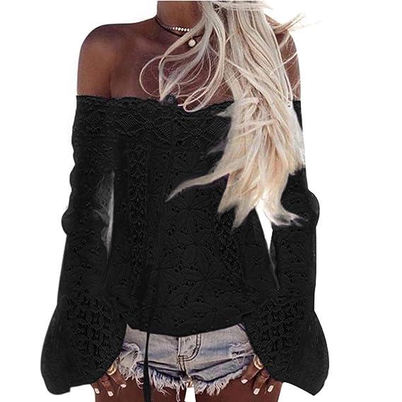 967f29df33872 FORH Damen Sexy Schulterfrei Langarm Bluse Elegant Spitze Blumen T-Shirt  Locker Sommer Off Shoulder Strand Oberteil Shirts Tops