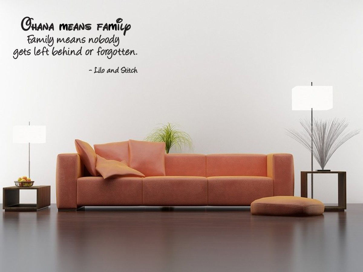 Amazon.com Ohana means family Family means nobody gets left behind or forgotten wall quote wall decals wall decal wall sticker Home u0026 Kitchen & Amazon.com: Ohana means family Family means nobody gets left behind ...