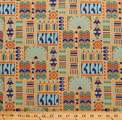 Cotton Downton Abbey Egyptian Theme Motifs Symbols Lotus Blossoms Cartouche Blue Green Orange Gold Metallic on Beige Cotton Fabric Print by The Yard (D484.11) - Lotus Blossom Symbol