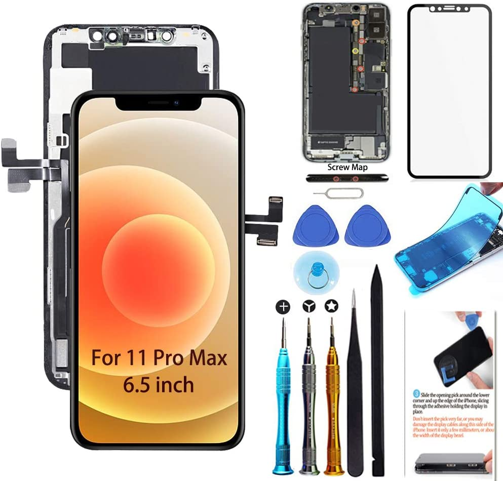 for iPhone 11 Pro Max Screen Replacement 6.5 inch LCD Display 3D Touch Digitizer Frame Assembly Full Repair Kit with Repair Tools, Screen Protector, Instructions