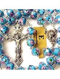 HANDMADE CATHOLIC NICE BULE Veluriyam ROSE BEADS & ITALY CROSS ROSARY necklace GIFT BOX
