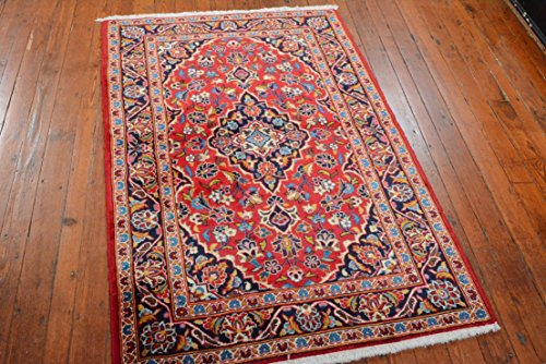 Authentic Persian Kashan Rug, 3'4''x5', Red/Blue, All wool (Gold Medallion Kashan Rug)