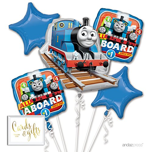 Tank Engine Gift - Andaz Press Balloon Bouquet Party Kit with Gold Cards & Gifts Sign, Thomas The Tank Engine Train Foil Mylar Balloon Decorations, 1-Set