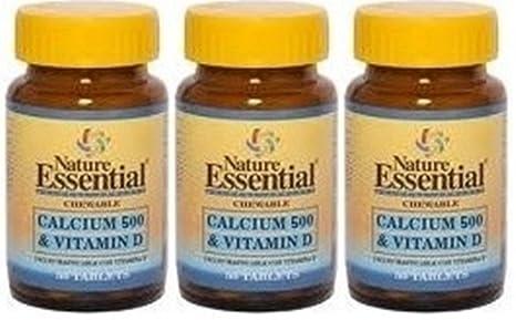 Calcio 500 + Vitamina D 50 tabletas con Magnesio. Nature Essential (Pack 3u.