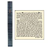 Aluminum Jewish MEZUZAH CASE with Scroll 3D Metal Painted Gray Stripes Classic Israel Judaica Door Mezuza 5''