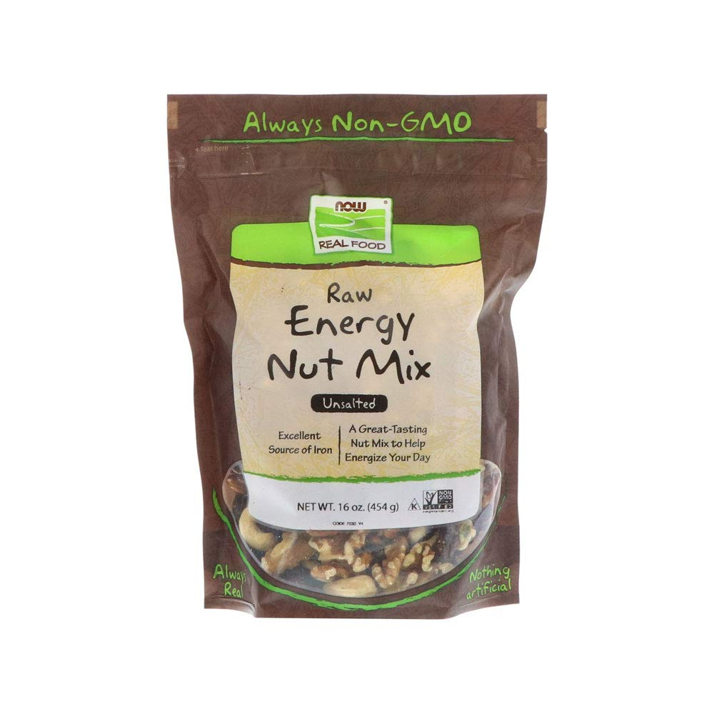 NOW Foods, Raw Energy Nut Mix, Unsalted Mix of Raisins, Walnuts, Peacans, Almonds, Pumpkin Seeds and Cashews, Great-Tasting, Source of Iron, 16-Ounce