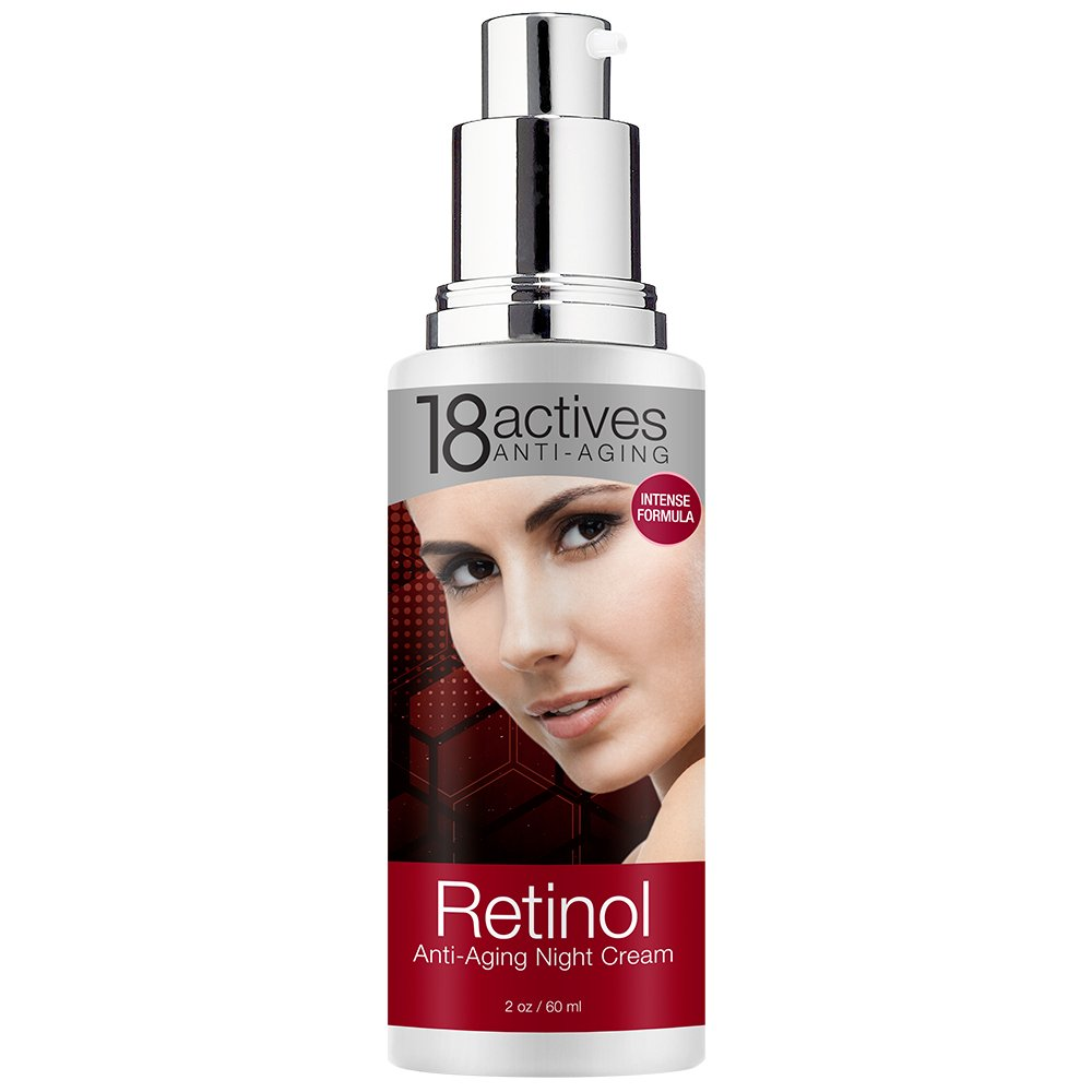 18actives Retinol Anti-Aging Night Cream Beauty Without Cruelty, 3% AHA Complex, Facial Cleanser, 2 fl oz(pack of 4)