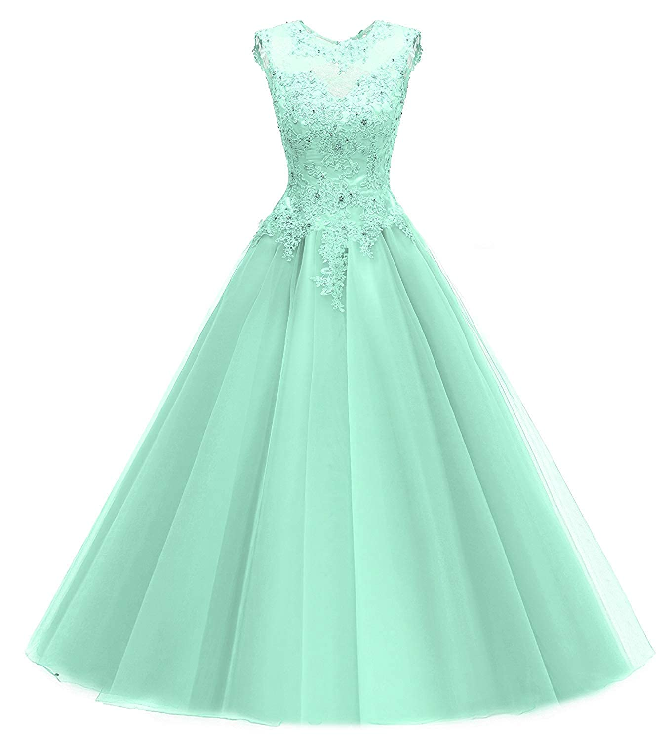 Mint PromQueen Women Quinceanera Dresses Lace Beading Evening Party Dress Sequined Appliques Prom Gown Long