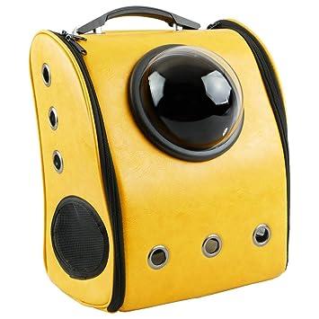 CityBAG - Mochila para transporte de mascotas gato y perro Transportin de imitación piel amarillo: Amazon.es: Electrónica