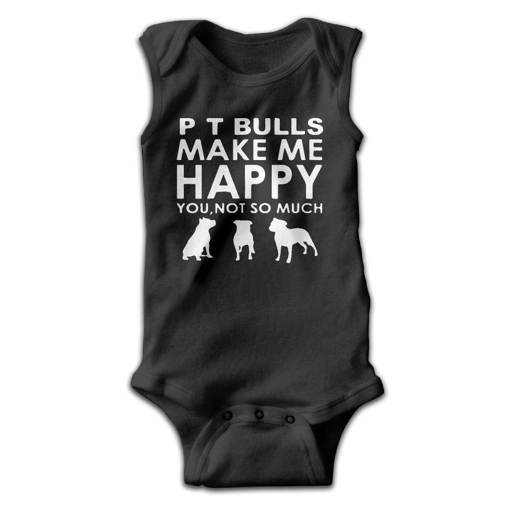 Pit Bulls Make Me Happy You Baby Newborn Crawling Suit Sleeveless Onesie Romper Jumpsuit Black
