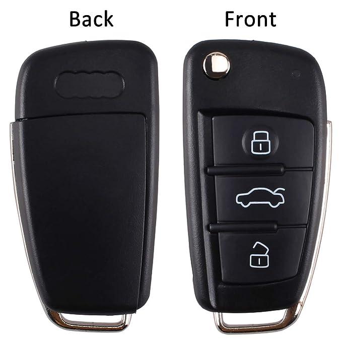 per Audi Telecomandi di ricambio per mandrino senza chiave Fob Shell a 3 pulsanti per auto