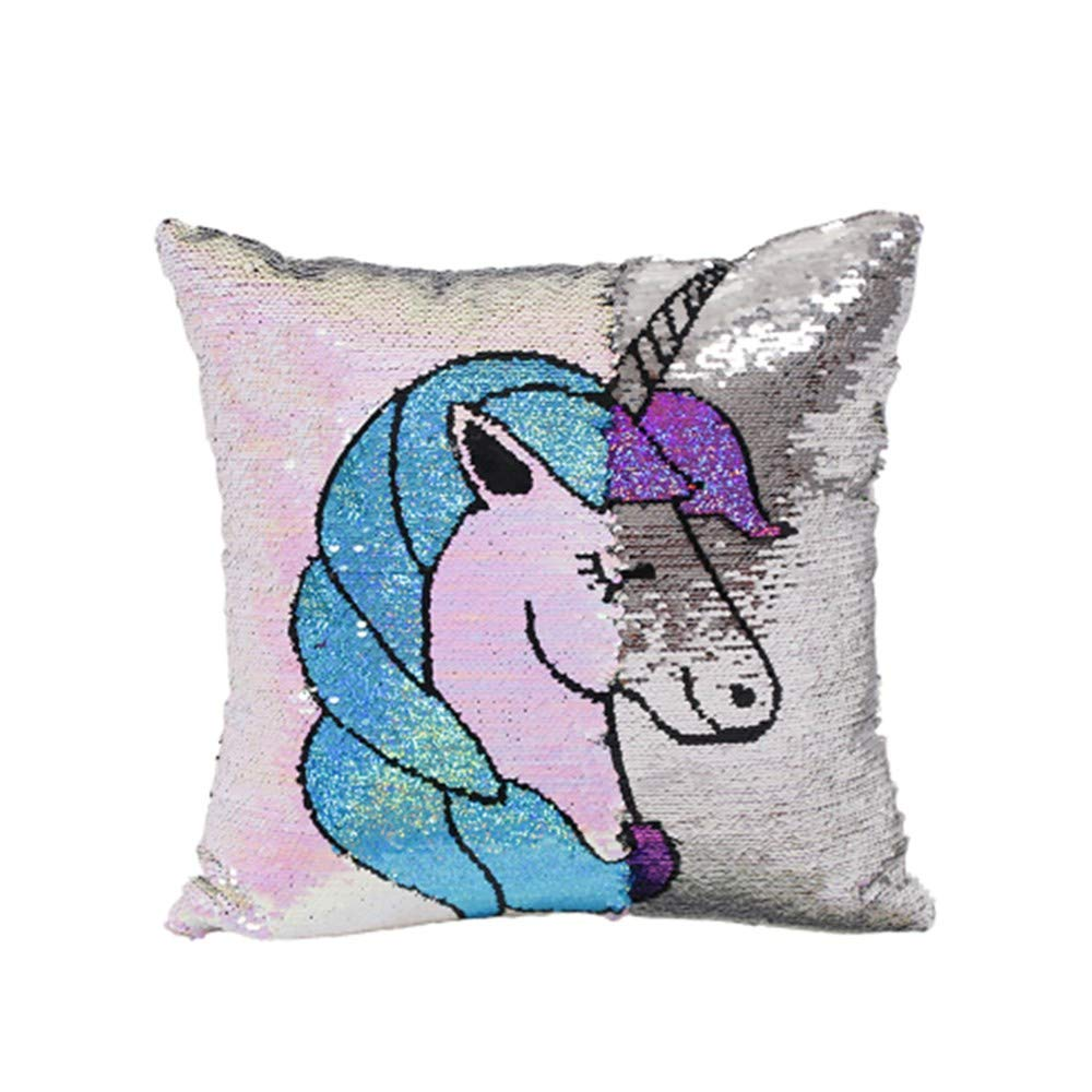 Mermaid Sequin Throw Pillow Decorative Cushion Cover Pillow Covers for Sofa Couch Bed Chair Bay Windowand 1 Pack, Case Only Magic Unicorn Gift ZAONE Unicorn Flip Reversible Sequins Pillow Case