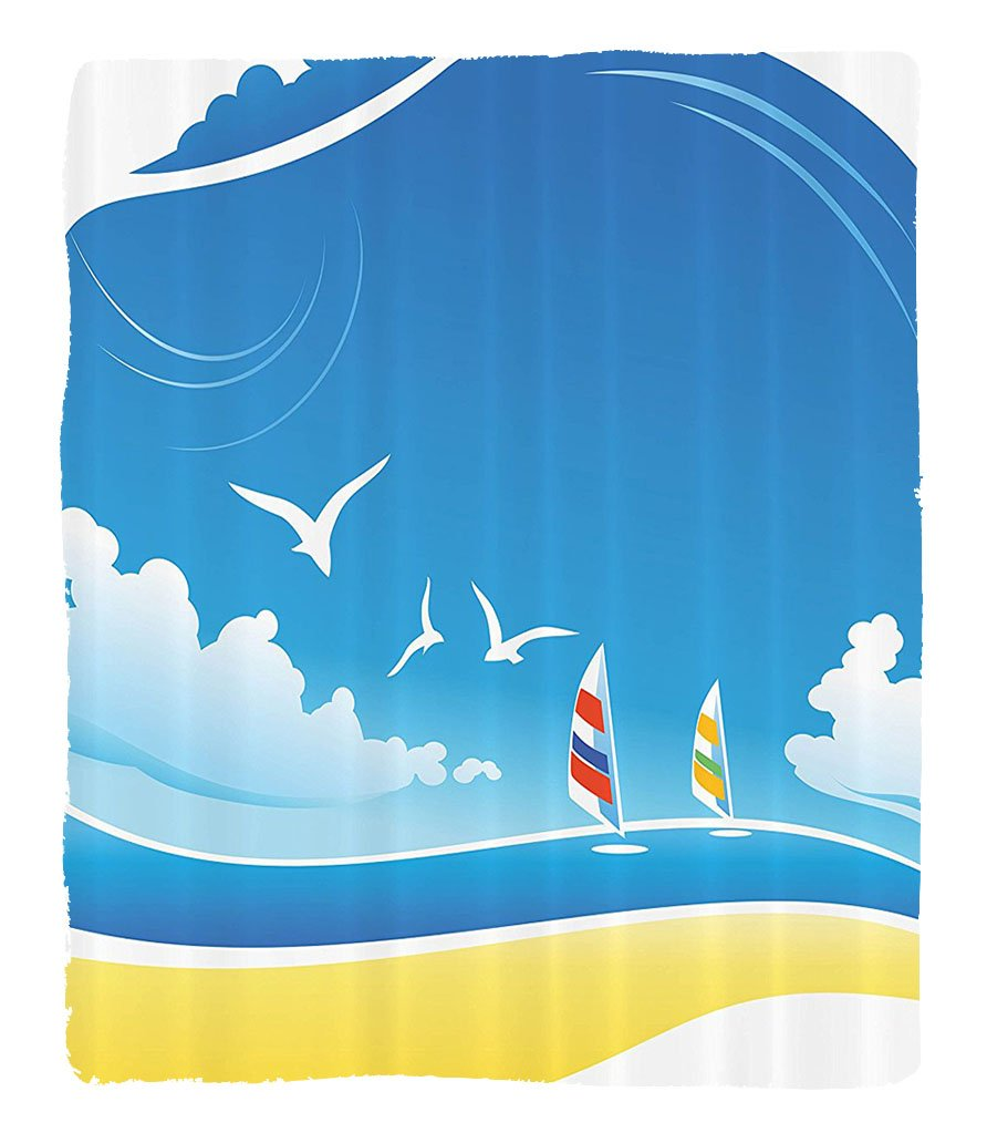 Chaoran 1 Fleece Blanket on Amazon Super Silky Soft All Season Super Plush Seagulls Decor Collection On the Beach Windsurf Coastline Vacations Wavy Waterurfaceummer Weather Image Print Fabric Extra by chaoran