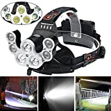 LED Headlamp Powerful 35000 LM 7X XML T6 LED Headlight Zoomable Rechargeable, Brilliant Adjustable Travel Head Torch for Camping Hiking Hunting Running Working, Headlamp Comes with Battery