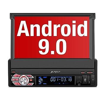 PUMPKIN 【 Android 9.0 】 1 DIN Radio con GPS Navegador, Autoradio Pantalla Android soporte Bluetooth, Control Volante, WiFi, USB, SD, Subwoofer, ...
