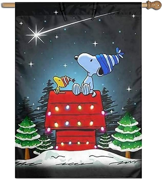 WOMFUI Snoopy and Woodstock Christmas Garden Flag Unique Decoration Outdoor Flag