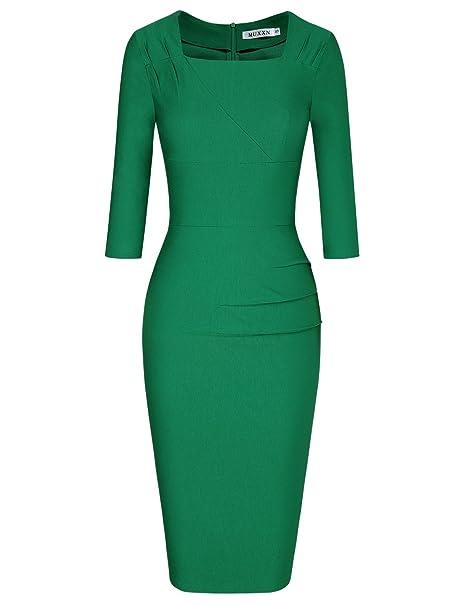 MUXXN 1950s Ropa Mujer Vestidos Oficina Negocios Vestidos Green 44
