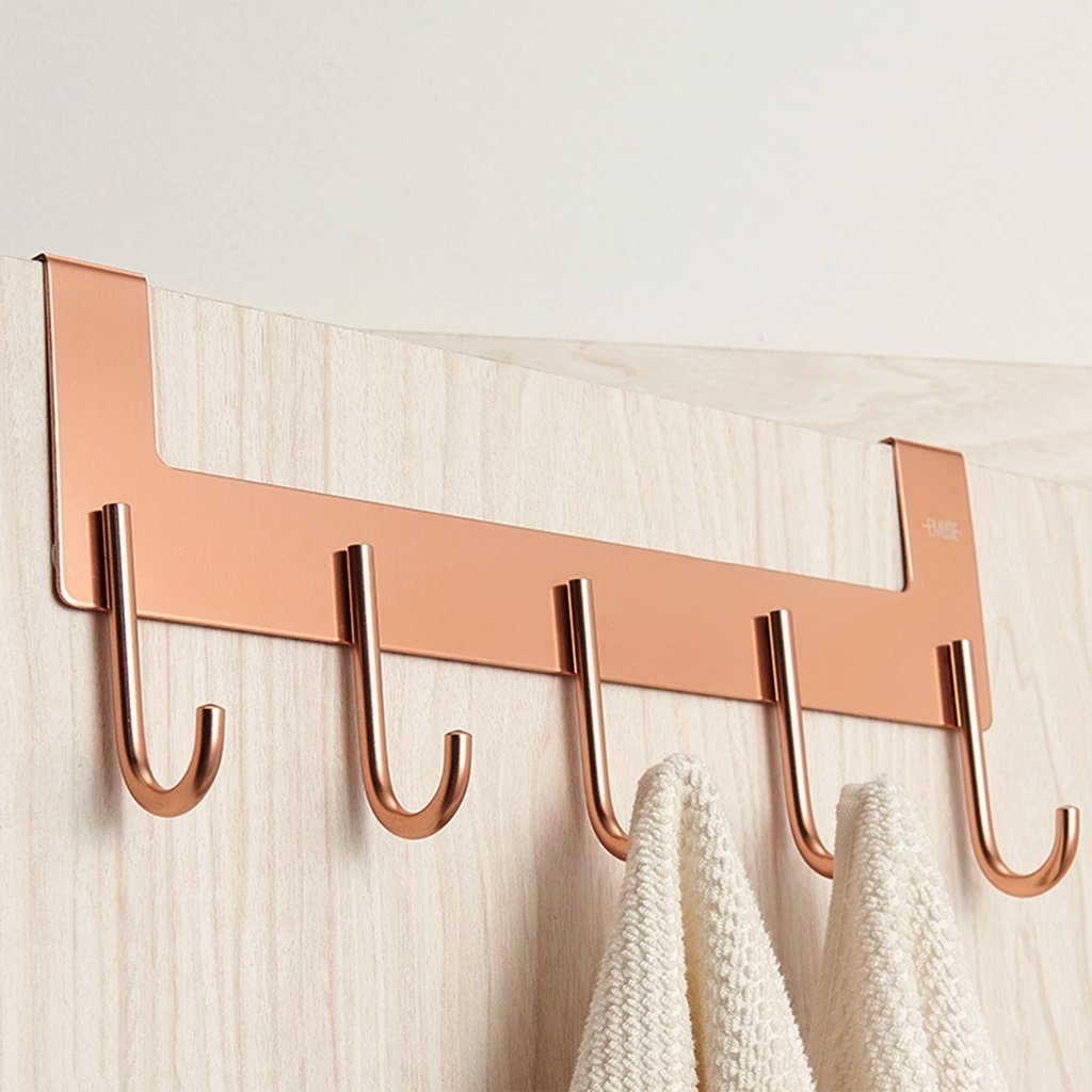 Creative Hanger Clothes Hat Stand Door Aluminum Hook Strong Load-bearing Not Fade Not Rust ( Color : Rose Gold )