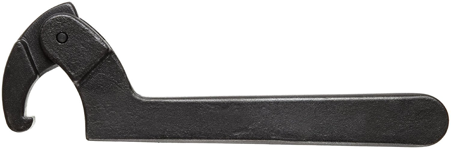 Martin 474A High Carbon Steel 4-1/2'' to 6-1/4'' Capacity Adjustable Hook Spanner, 12-1/8'' Overall Length, Industrial Black Finish