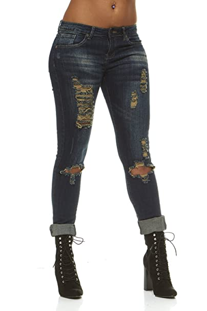 dc9712350c Ripped Distressed Washed Skinny Stretch Jeans Women Plus Size 18   Vintage  Blue Wash