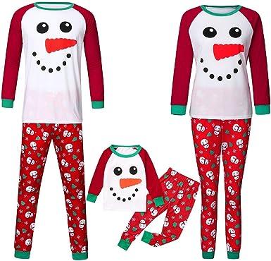 Fossen Kids Pijamas Familiares Navidad con Estampado de Muñeco de Nieve, Pijama Navidad Familia de Manga Larga Conjunto de Mujer Hombre Bebe, Traje de ...