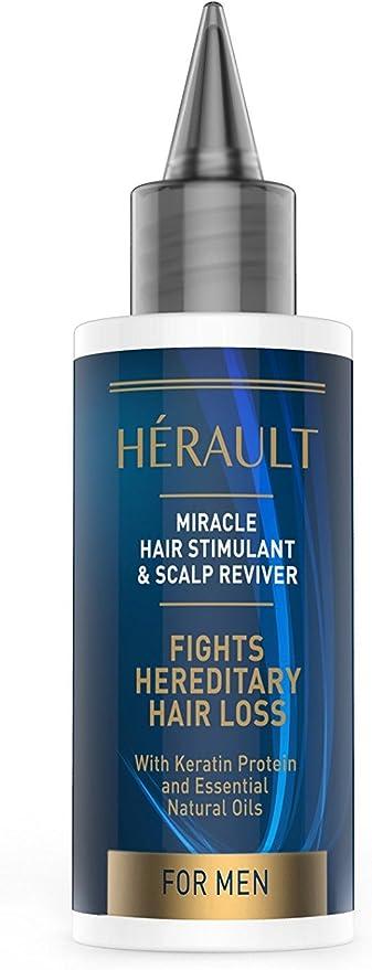 Hérault - Tratamiento anticaída estimulante para cabello y cuero cabelludo para hombre (contiene queratina y aceites esenciales, 50 ml)