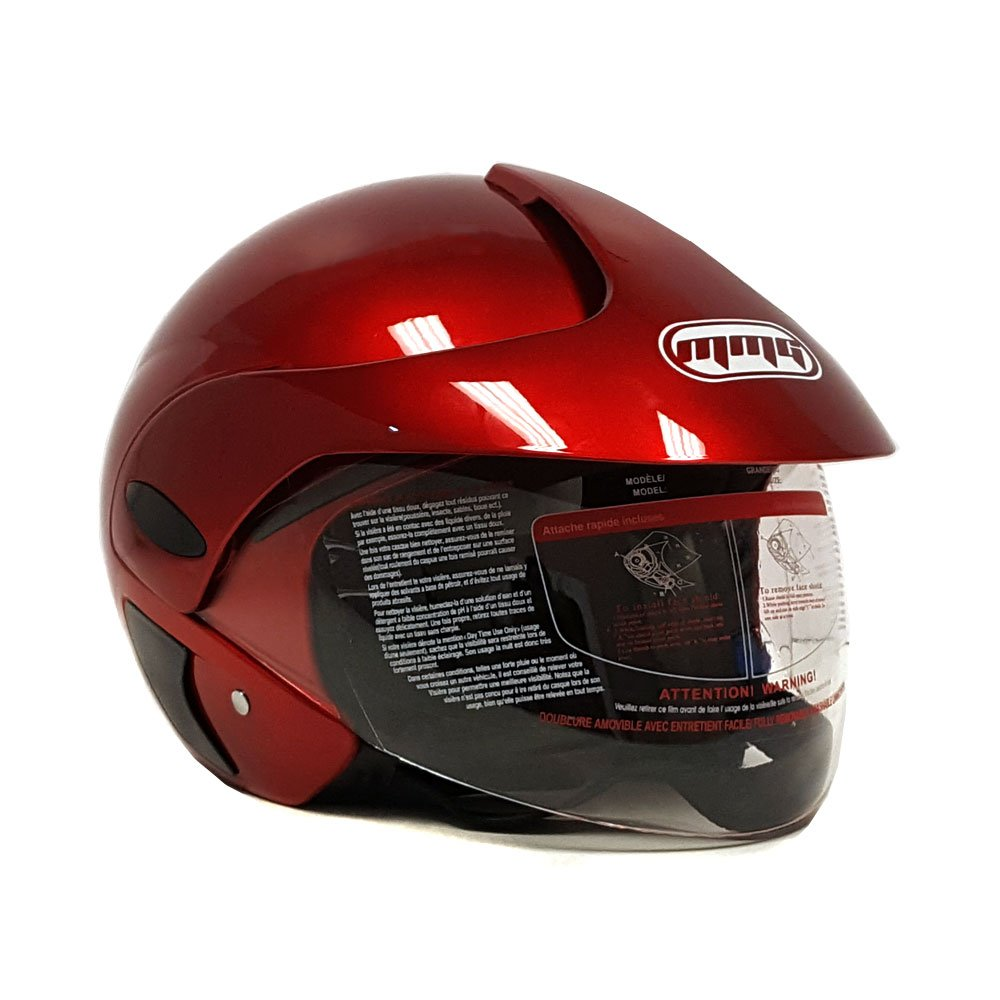 MMG 203 Motorcycle Scooter Open Face Helmet Flip Up Visor DOT Approved, Shiny Burgundy, Large by MMG