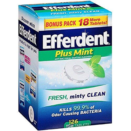 Efferdent Plus Mint Anti-Bacterial Denture Cleanser Tablets 126 ea