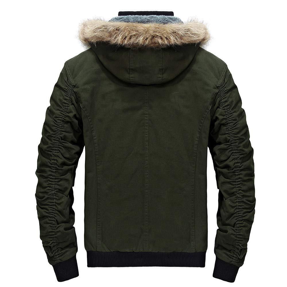 Men Hooded Zipped Thick Solid Fleece Coat Men Jackets,Dartphew Winter Jacket