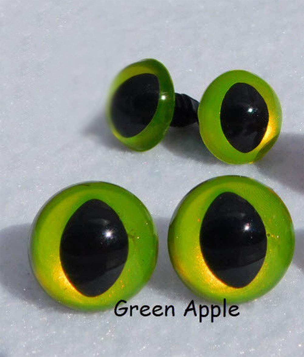 Green Apple Safety Eyes Cat Eyes Sew Crochet Amiguruml Knit Dragon Frog Monster, 4 Pair (21mm)
