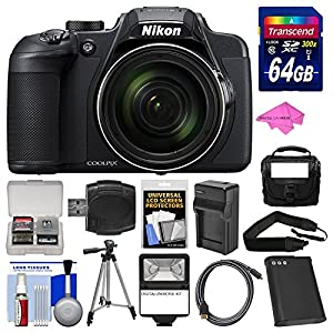 Nikon Coolpix B700 4K Wi-Fi Digital Camera with 64GB Card + Case + Flash + Battery & Charger + Tripod + Strap + Kit