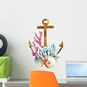 Wallmonkeys Watercolor Coral Anchor Wall Decal Peel and Stick Decals for Girls (18 in H x 18 in W) WM179250