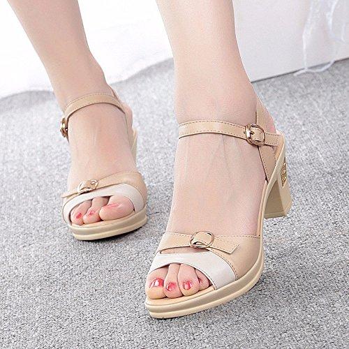No. 55 Shoes Estate Sandali Donna con Vera Pelle Sottile e Scarpe,US9/EU40/UK7/CN41,l'albicocca