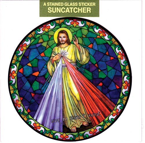 (Divine Mercy Window Decal, Reusable Vinyl Suncatcher, Stained Glass Design)