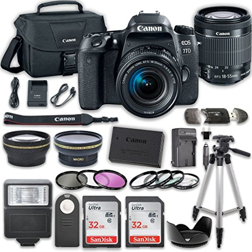 Canon EOS 77D DSLR Camera Bundle with Canon EF-S 18-55mm f/4