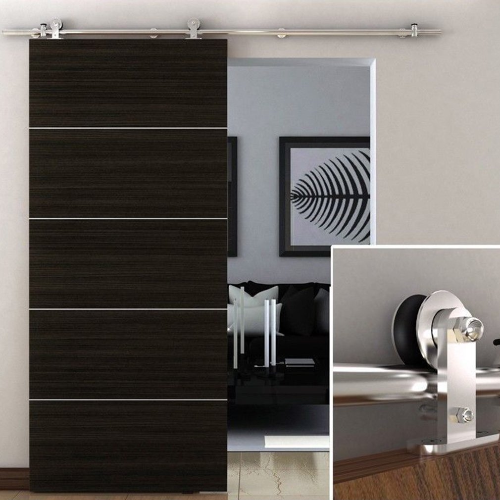 Coldcedar Door Hardware Closet Set Heavy Duty 5ft~12ft Flat/Rhombic/Arrow Sliding Barn Door Hardware Kit (6ft Stainless Steel)