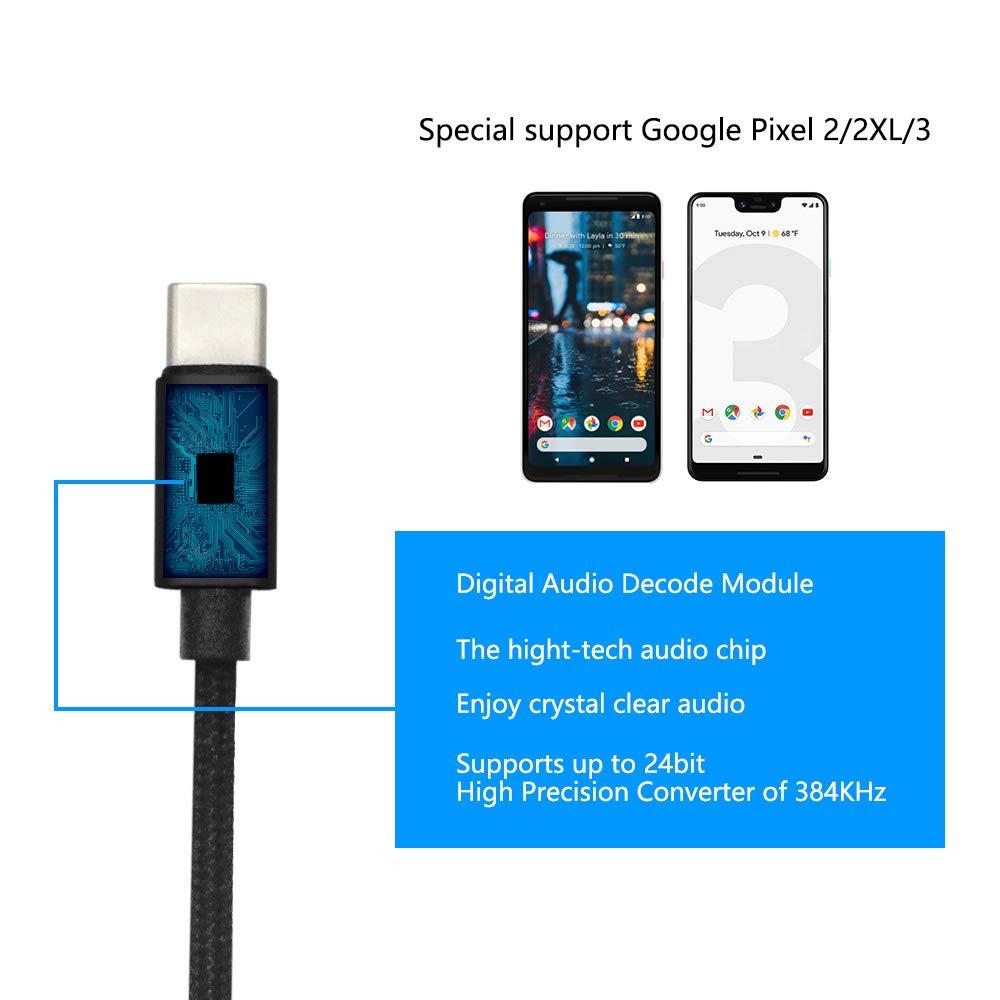 Pixel3/2 DAC USB C to 3.5mm Headphone Jack Adapter(2 Pack),Hi-Res Type C to 3.5mm Audio Jack Adapter Compatible for Google Pixel 2/2XL/3/3XL,Huawei,Sony,Nookia,ZUK,HTC,Lenovo,LG,Razer,Meitu,Samsung.