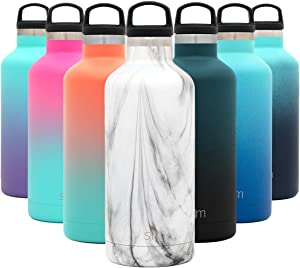 Simple Modern 32oz Ascent Water Bottle - Hydro Vacuum Insulated Tumbler Flask w/Handle Lid - White Double Wall Stainless Steel Reusable - Leakproof: Pattern: Carrara Marble