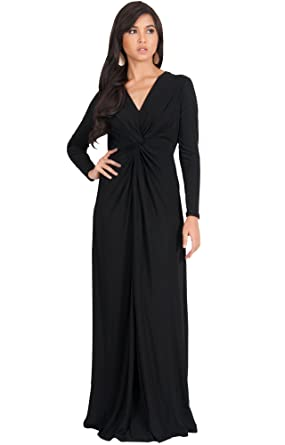 Koh Koh Womens Long Sleeve Semi Formal Fall Winter Flowy Gown Maxi