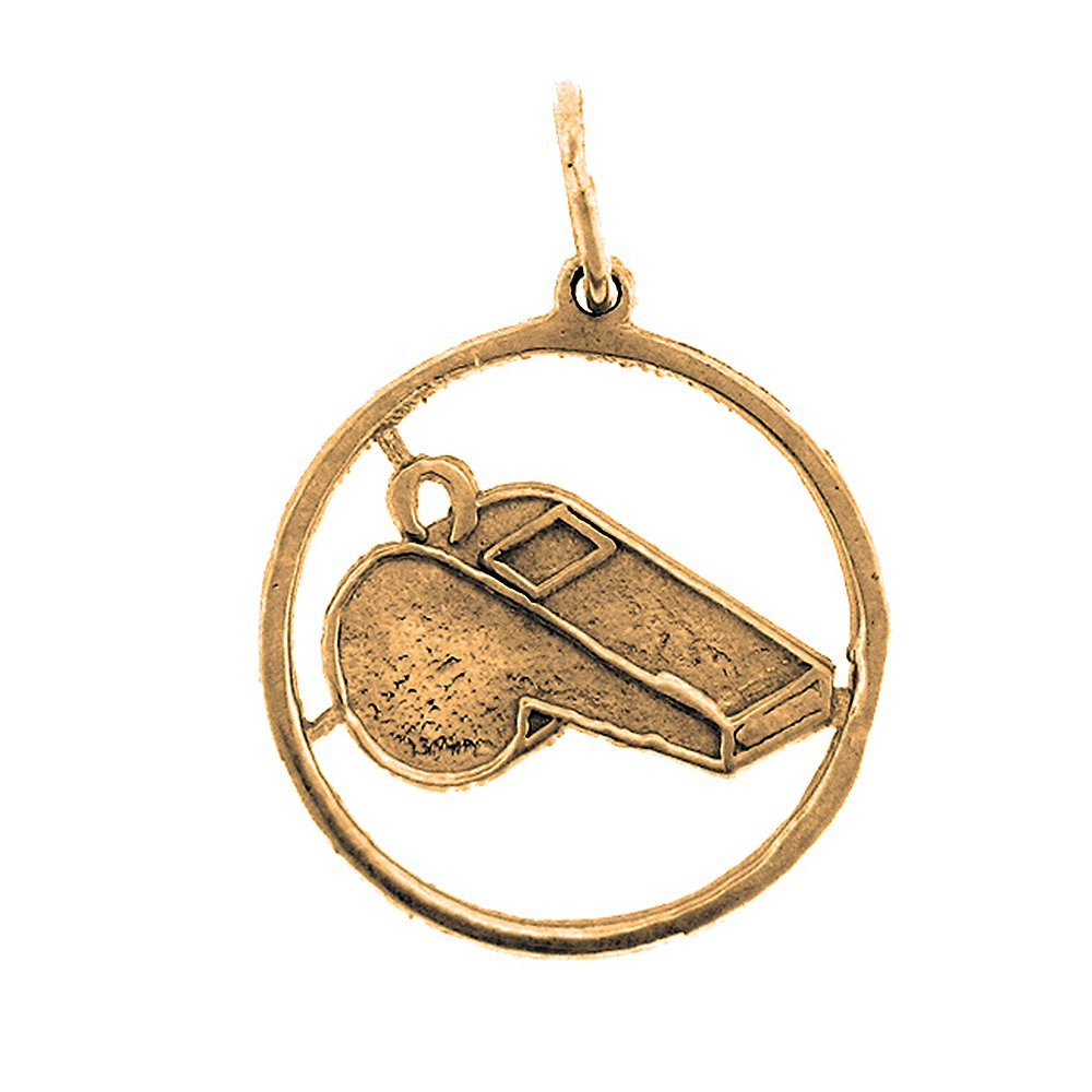 20mm Silver Yellow Plated Whistle Charm