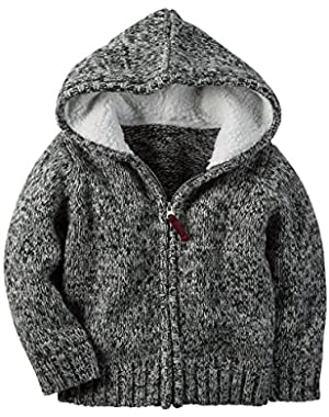 Carter's Boy's Black & White Knit Full Front Zip Hoodie (6 Months)