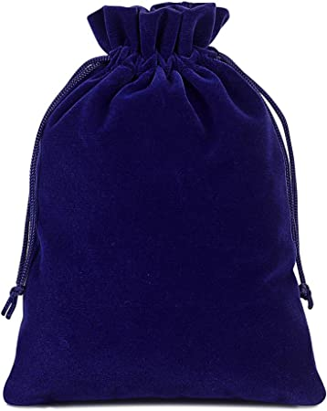 """Lucky Monet 25/50/100PCS Velvet Drawstring Bags Jewelry Pouches for Christmas Birthday Party Wedding Favors Gift Candy Headphones Art and DIY Craft (50Pcs, Royal Blue, 4"""" x 6"""")"""