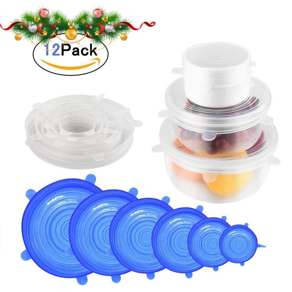 AYUTOY Tapas de Silicona El/ásticas 6 Transparente + 6 Azul Paquete de 12 de Varios Tama/ños de Fundas para Tazones de Silicona Reutilizable Fundas Protectoras para Mantener alimento Fresco